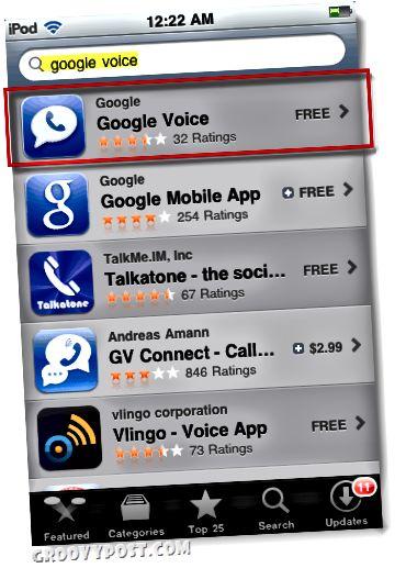 Google Voice v obchodě s aplikacemi pro ipod nebo ipad