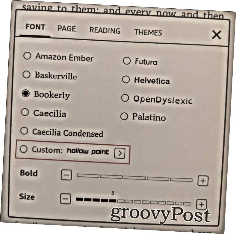 Kindle Xüsusi şriftləri Font xüsusi seçin