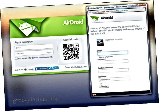 Airdroid se zaregistrujte