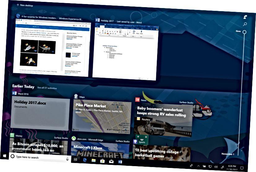 Heroj vremenske trake sustava Windows 10