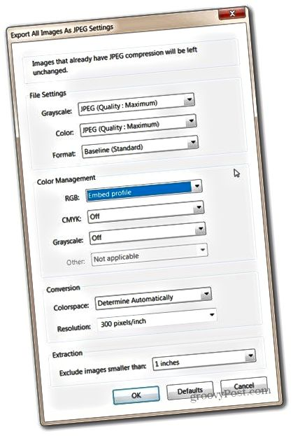 Adobe Acrobat Pro flytja allar myndir stillingar