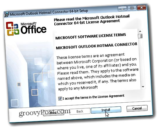 Outlook.com Outlook Hotmail Connector - Κάντε κλικ στο Install