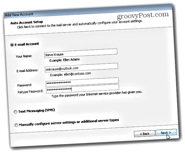 Outlook.com Outlook Hotmail Connector - Προσθήκη λογαριασμού email και κωδικού πρόσβασης