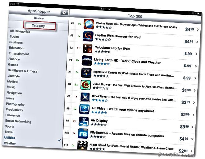 AppShopper flokkar