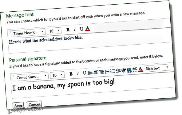 αλλάξτε τη γραμματοσειρά hotmail και προσθέστε υπογραφές