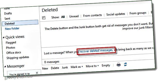 ανακτήστε τα διαγραμμένα μηνύματα hotmail