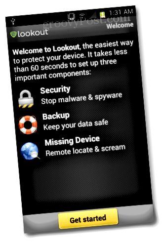 Lookout-mobiiliturva-asetukset
