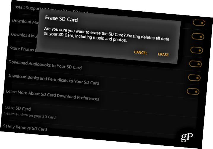 4 SD Card Fire HD-ni silmək və ya silmək