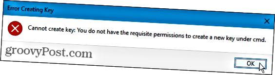 Avainvirhettä ei voi luoda Windowsin rekisterissä
