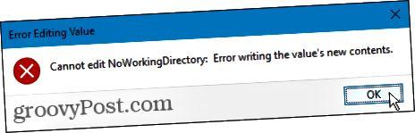 Virhettä ei voi muokata Windowsin rekisterissä