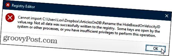 Rekisteritiedostoa ei voi tuoda Windowsin rekisteriin