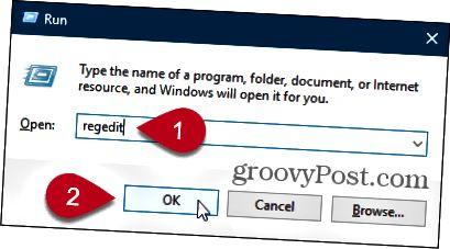 Avaa Windowsin rekisterieditori