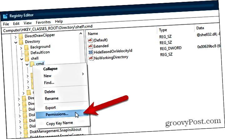 Avaa käyttöoikeudet -valintaikkuna avaimen löytämiseksi Windowsin rekisterissä