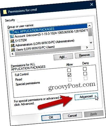 Napsauta Lisäasetukset Käyttöoikeudet-valintaikkunassa Windowsin rekisterissä