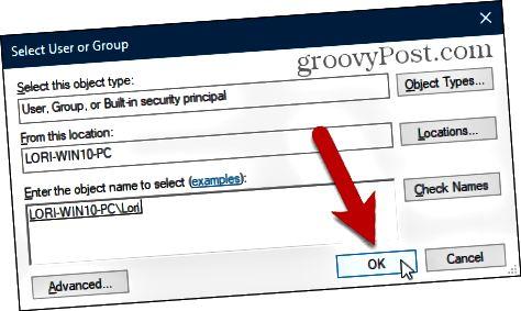 Sulje Valitse käyttäjä tai ryhmä -valintaikkuna Windowsin rekisterissä