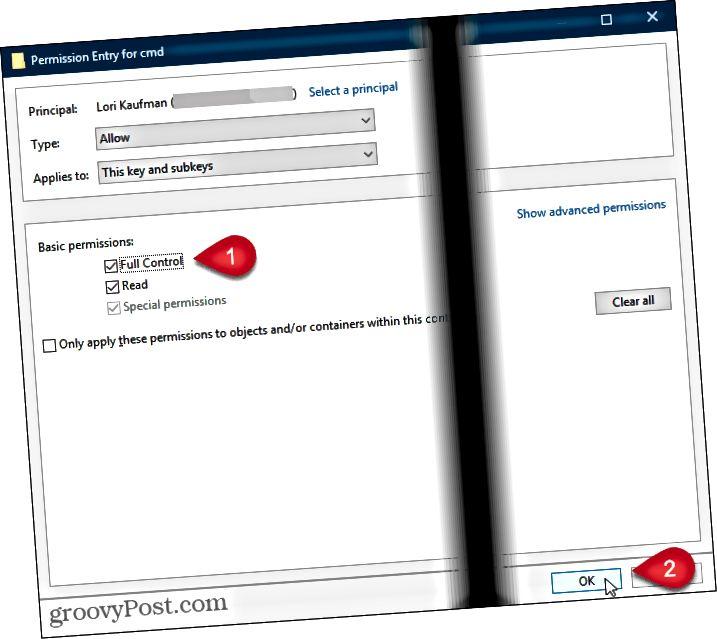Tarkista koko hallinta ja napsauta OK Windowsin rekisterin Käyttöoikeuksien syöttäminen -valintaikkunassa