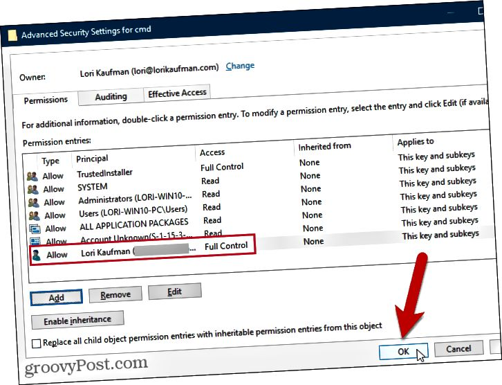 Sulje Windowsin rekisterin Advanced Security Settings -valintaikkuna