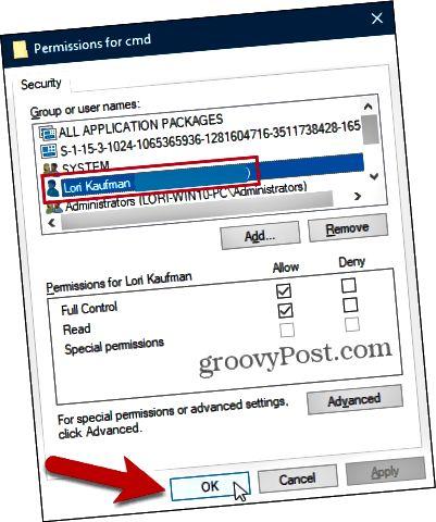 Sulje Käyttöoikeudet-valintaikkuna Windowsin rekisterissä