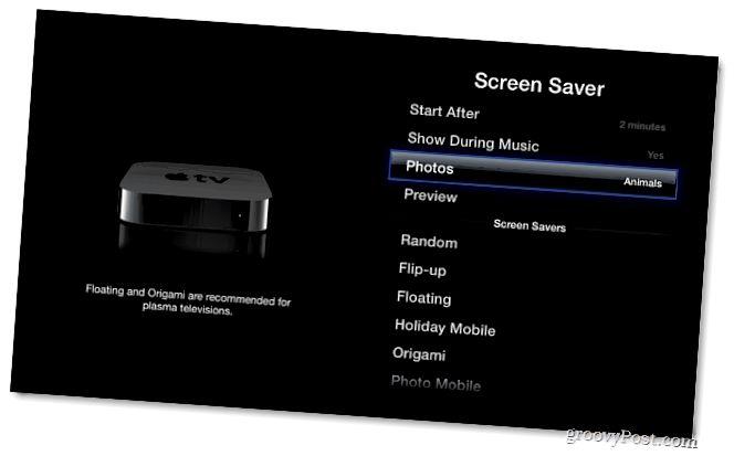 Bildschirmschoner-Optionen
