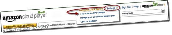 Amazon Cloud Player-Einstellungen