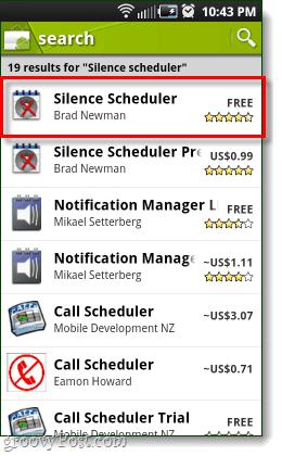 hiljaisuuden ajoitusohjelma Android-markkinoilla