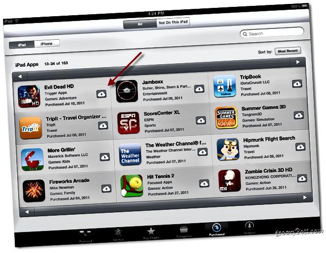 Liste der zuvor gekauften Apps