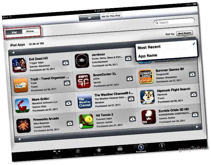 Apps sortieren