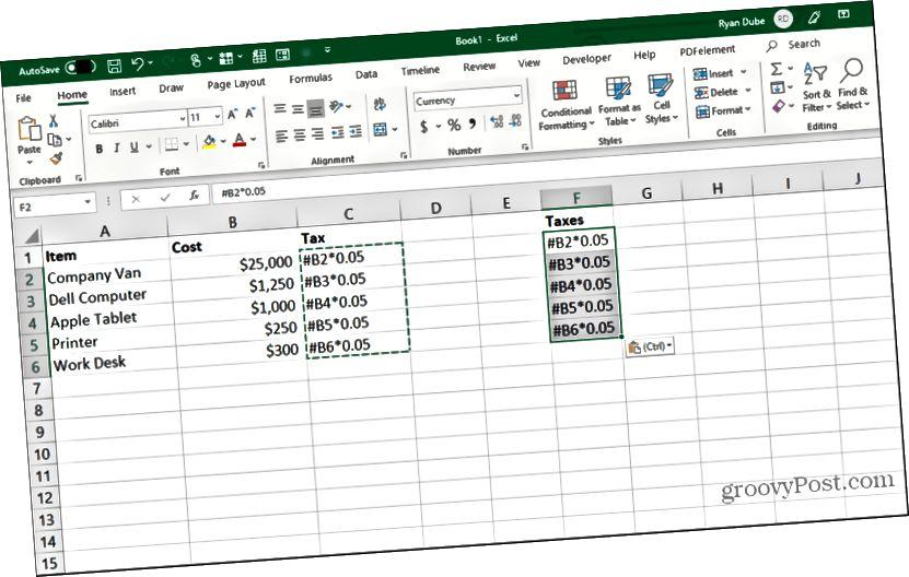 Excel-də düzəldilmiş düsturları yapışdırmaq