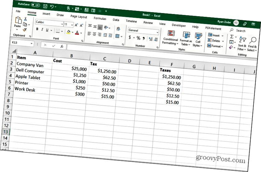 formula hüceyrələri kopyalayır və Excel-də yapışdırılır