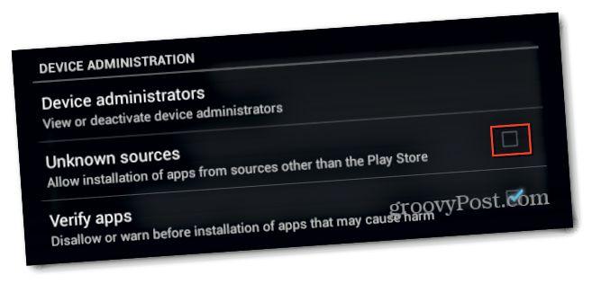 Android Óþekkt heimildir merkið