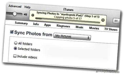 Přenos pokroku iTunes