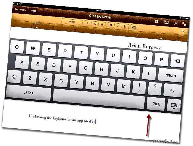 Přesuňte klávesnici iPad