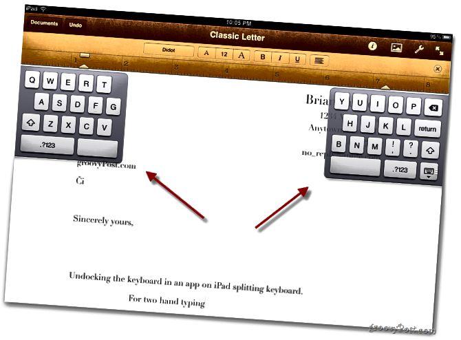 Rozdělení klávesnice iPad