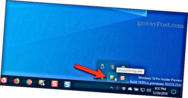 Το σενάριο AutoHotkey εκτελείται στο δίσκο συστήματος των Windows