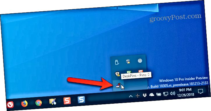 Klepnutím na ikonu DeskPins na hlavním panelu systému Windows získáte pin