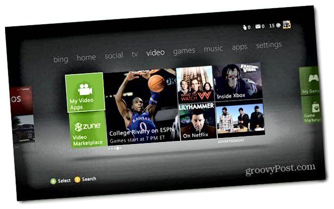 Hlavní nabídka Xboxu