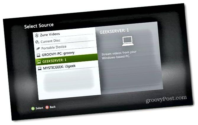 Xbox Vyberte server