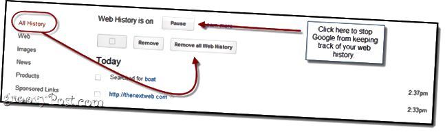 Zakázat webovou historii Google
