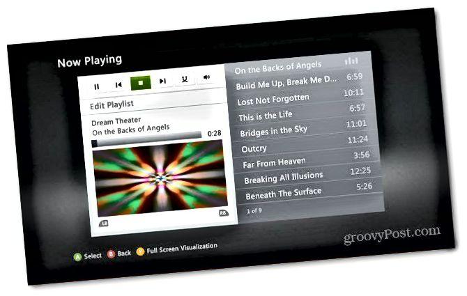 Xbox Přehrávání hudby
