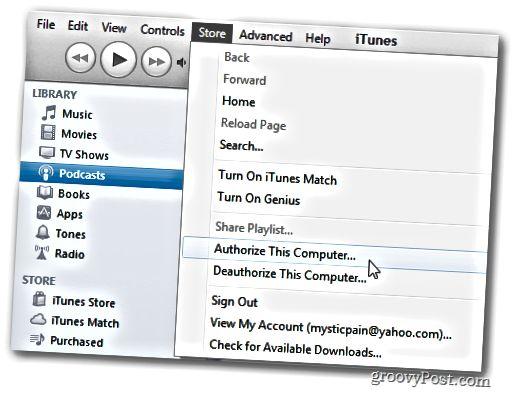 iTunes-valikko