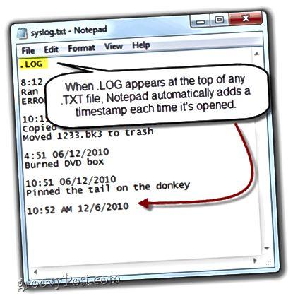 Notepad ilə .LOG işarəsi yaradın