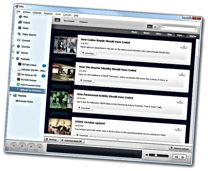 Videokanal in Miro zum automatisierten Herunterladen von YouTube