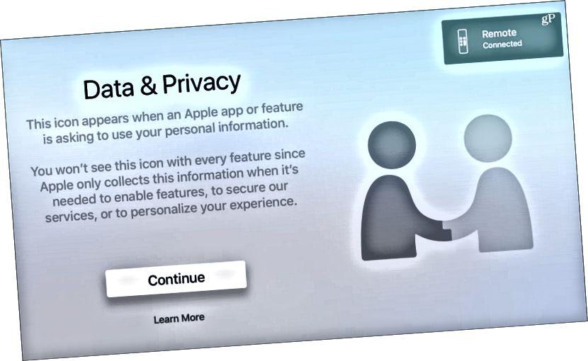 Gögn og persónuvernd tvOS Apple TV