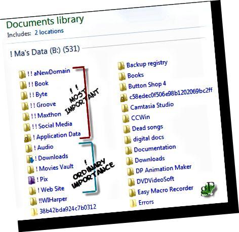 Neke su važne datoteke važnije od drugih. Označite one dvostrukim uskličnicima.