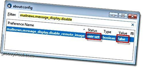 Muuta mailnews.message_display.disable_remote_image väärään poistaaksesi etäsisällön ponnahdusikkunat käytöstä Thunderbird 3: ssa