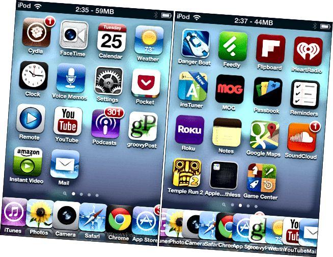 Šest a 10 ikon v doku iOS