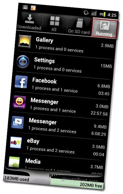 Εφαρμογές Android που εκτελούνται