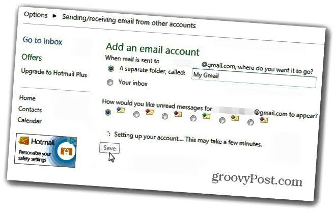 φάκελο στο λογαριασμό email