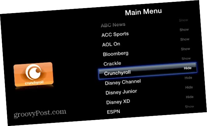 Απόκρυψη καναλιών Apple TV