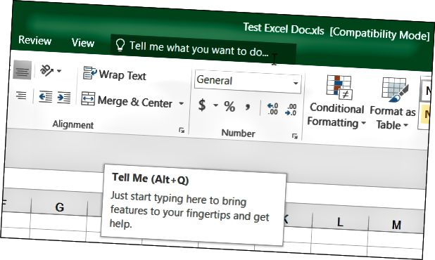Tell Me Excel 2016